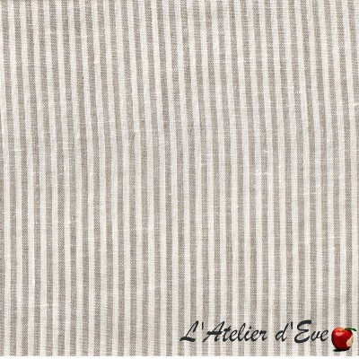 """- """"Nature lin"""" Coupon 1m60x3m fabric upholstery stripes linen"""