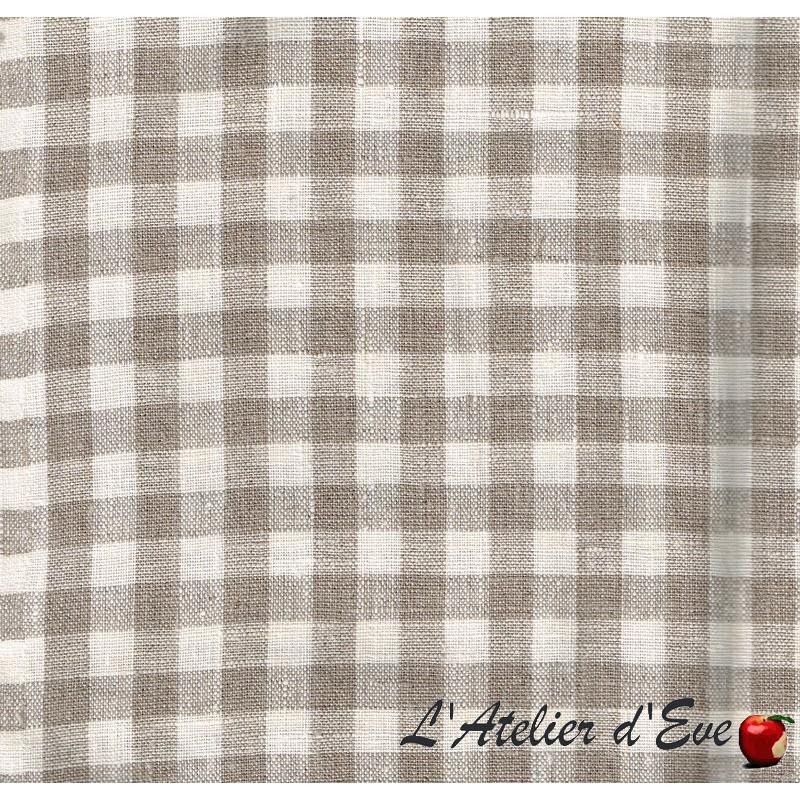 """- """"Nature lin"""" Coupon 1m60x1m tissu ameublement carreaux lin"""