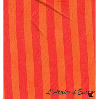 "- ""Jersey"" Coupon 2m60x1m50 tissu rayures orange"