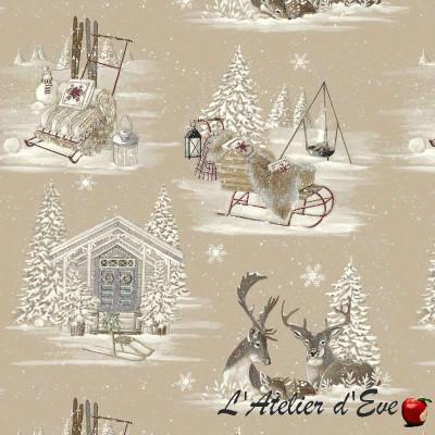 """- """"Rennes des neiges"""" coupon 100x120cm Tissu montagne Thevenon"""