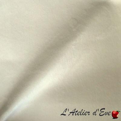 "- ""Sweet Love"" blanc Coupon 70x110cm tissu velours ras aspect suédine Thevenon"