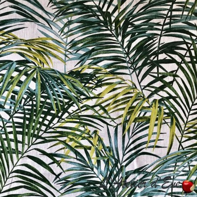 """Palm springs"" lin Coupon 140x70cm tissu ameublement Thevenon"