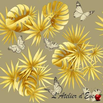 """- """"L'île aux papillons"""" Coupon 100x65cm tissu ameublement moutarde Thevenon"""