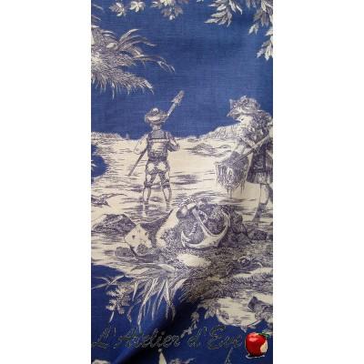 """""""Histoire d'eau"""" marine Coupon 60x280cm toile de jouy Thevenon"""
