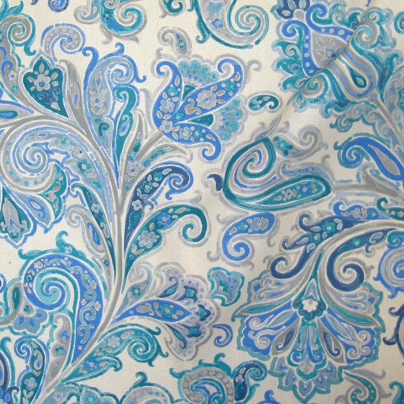 Hippy bleu-gris - Tissu ameublement coton grande largeur cachemire Thevenon
