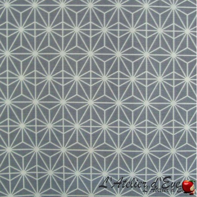 """""""Soleil d'orient"""" Tissu enduit gris nappe Thevenon"""