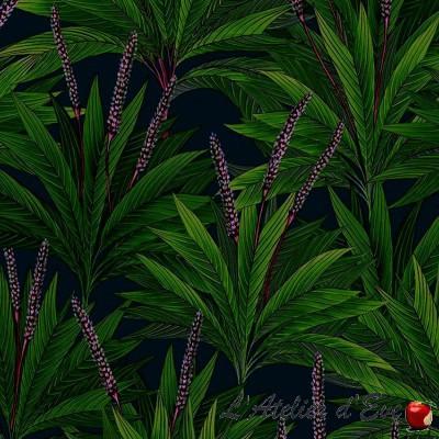 """Small palms"" Tissu enduit vert fleuri en gros GrossisteThevenon"