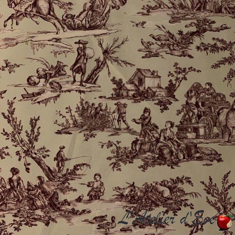 """""""Quatre saisons"""" Tissu enduit rouge toile de jouy enduite Thevenon"""
