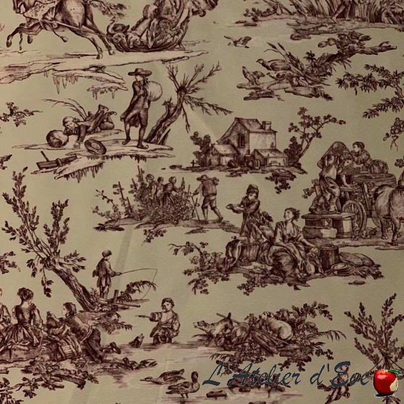 """""""Quatre saisons"""" Grossiste tissu enduit toile de jouy rouge Thevenon"""