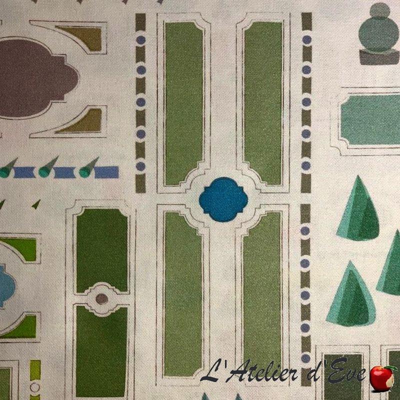 """""""Le notre enduit"""" Tissu enduit vert fantaisie Thevenon"""