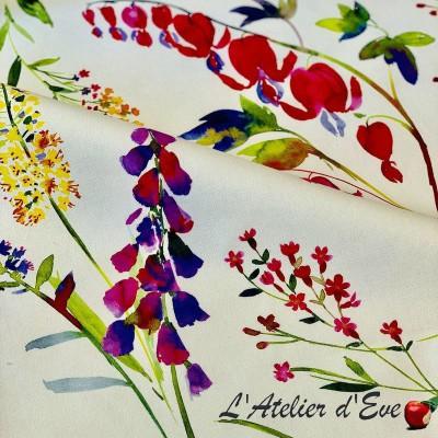 """Tissu enduit fleuri """"Virginie"""" de Thevenon"""