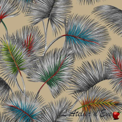 """Small palms"" Thevenon floral coated fabric"