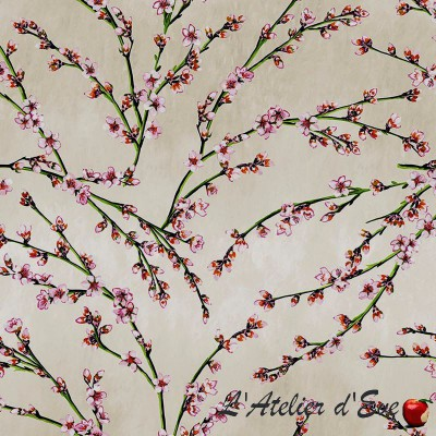 """Almond flowers"" coated Thevenon flower fabric"