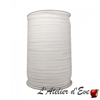 Promotion bobine 300m élastique plat souple blanc 7mm ME.05