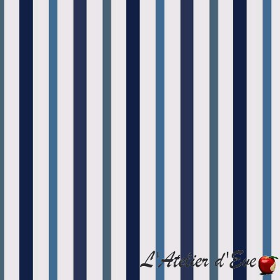 """Basque linen"" coated Thevenon striped fabric"