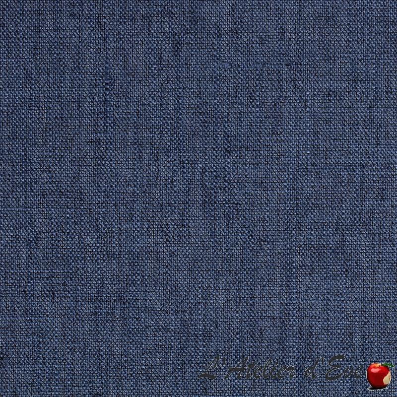 """""""Lin occultant"""" Tissu bleu jean occultant aspect lin Thevenon"""