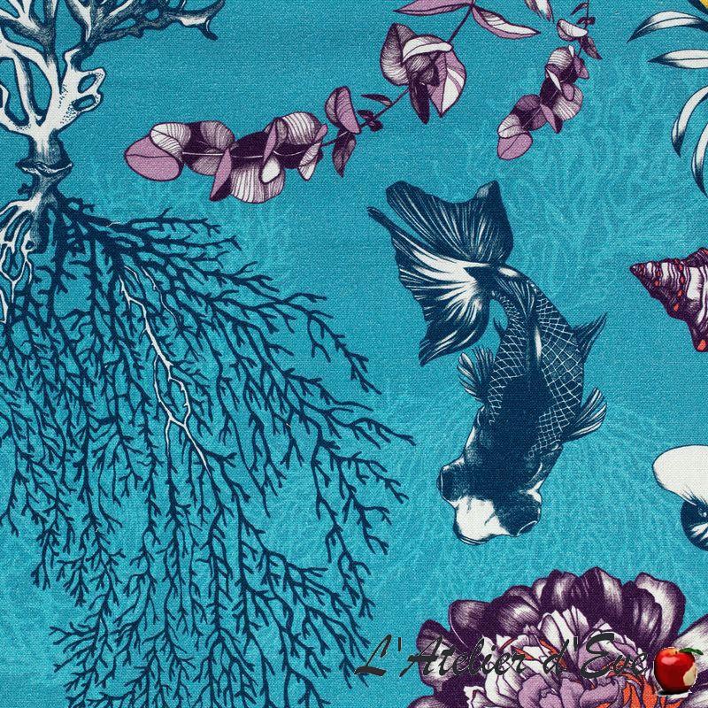 """Poetic Undersea"" Toile de coton ameublement Thevenon"