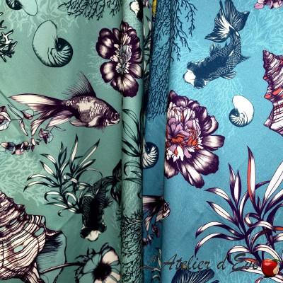 """Poetic Undersea"" Remise 30% Rouleau tissu coton ameublement Thevenon"