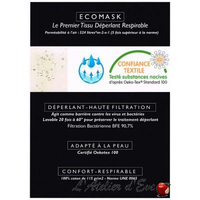 """""""Ecomask"""" Pièce 50m tissu coton déperlant respirable L.130cm Blanc Thevenon"""