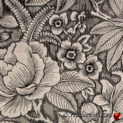 """Showtime"" Embroidered fabric with floral furniture Thevenon"
