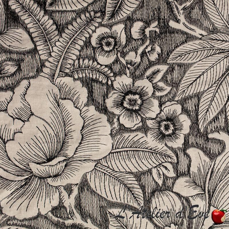 """""""Black and White"""" Tissu brodé fleuri ameublement Thevenon"""
