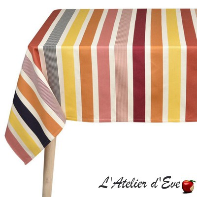 """Garlin ocre"" Nappe toile basque coton Made in France Artiga"