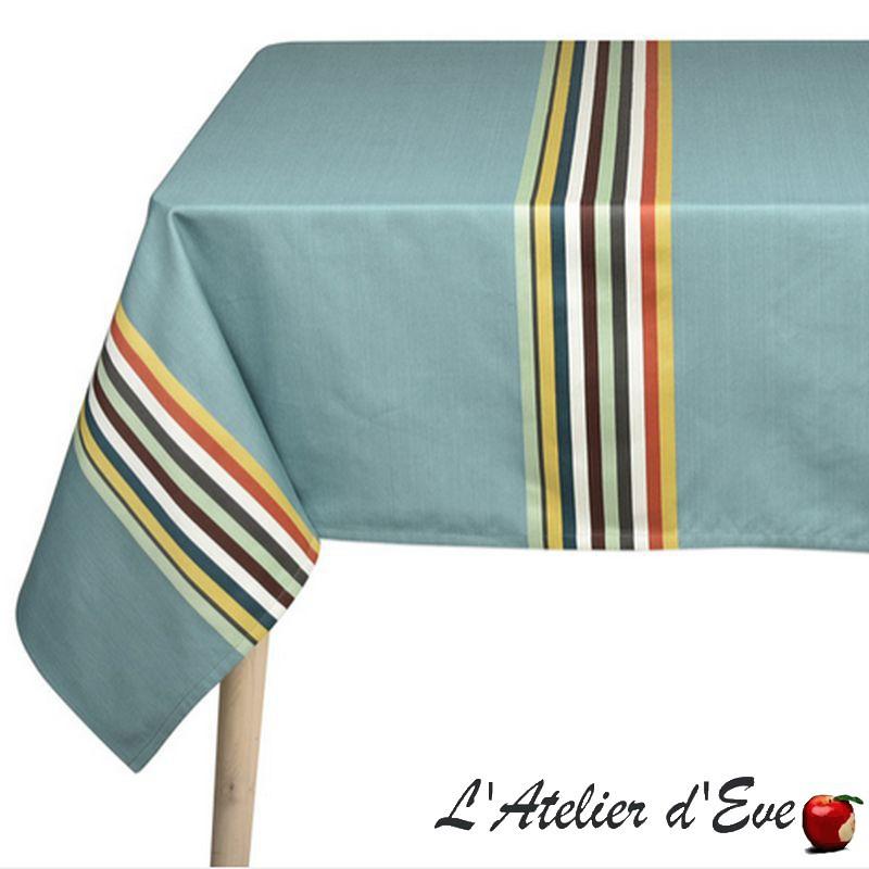 """Mauleon celadon"" Nappe toile basque coton Made in France Artiga"