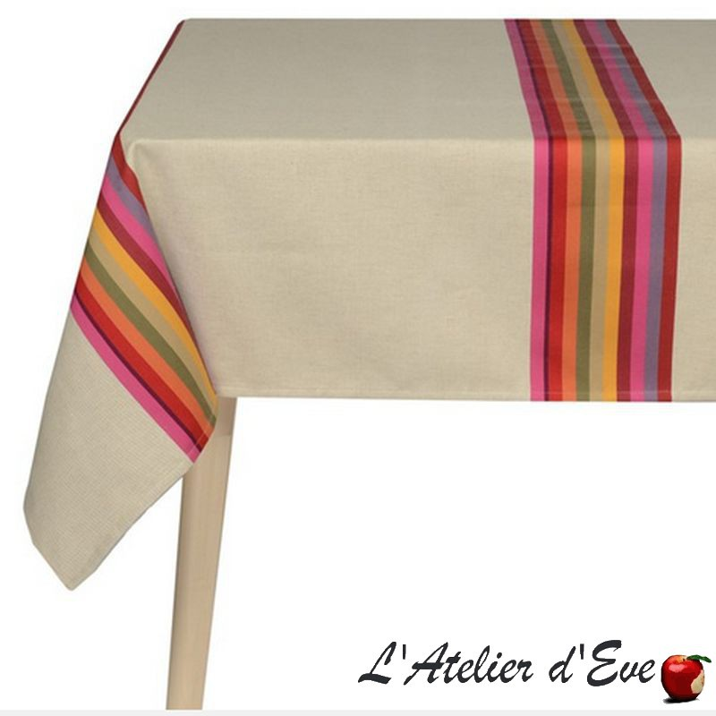 """Mauleon fuchsia"" Nappe toile basque coton/lin Made in France Artiga"