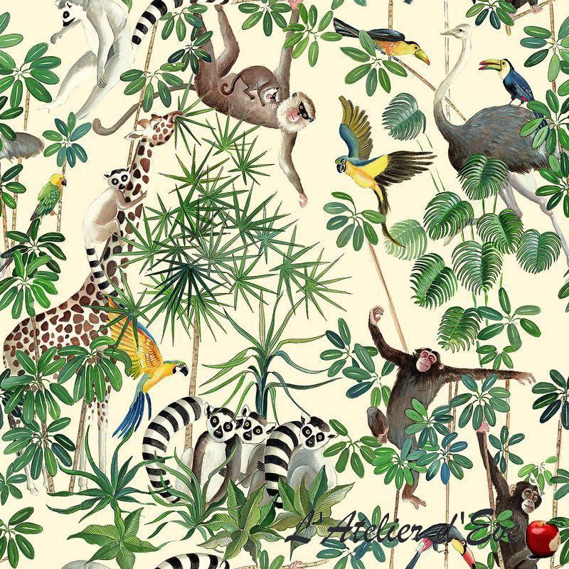 """""""La jungle des animaux"""" Coupon 100x140cm tissu ameublement Thevenon"""