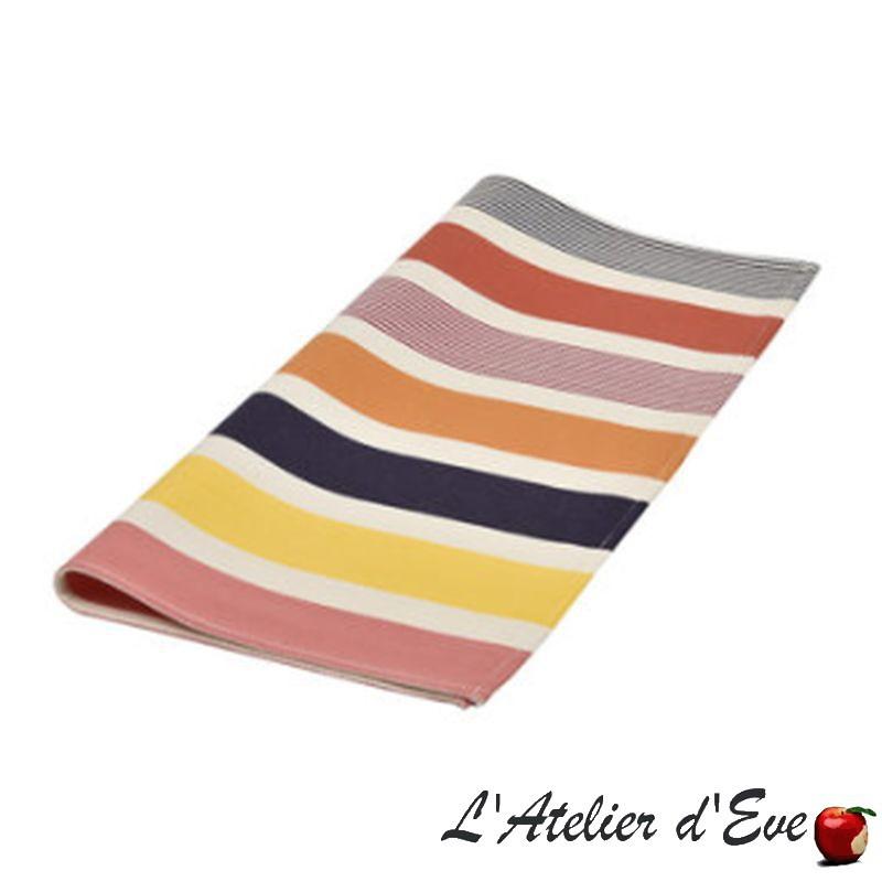 """""""Garlin ocre"""" Serviette de table toile basque coton Made in France 50x50cm Artiga"""