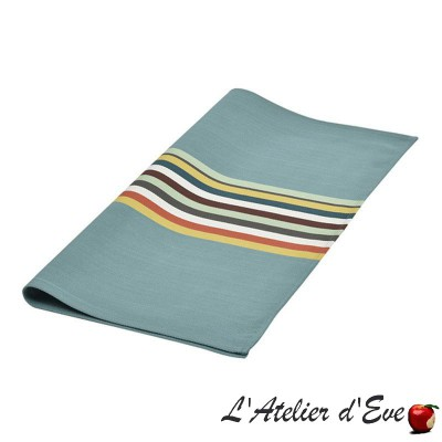 """Mauleon celadon"" Serviette de table toile basque coton Made in France 53x53cm Artiga"