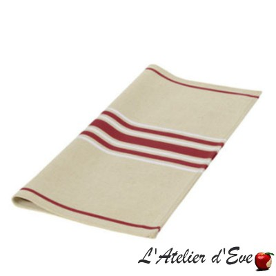 """Corda Metis"" Serviette coton/lin toile basque BX/Blanc Made in France 53x53cm Artiga"