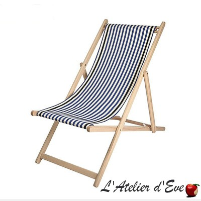 """Lacquy bleu"" Custom-made deckchair canvas Made in France Artiga"