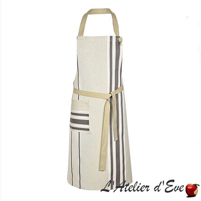 """Corda metis acier/blanc"" Tablier coton/lin Made in France Artiga"