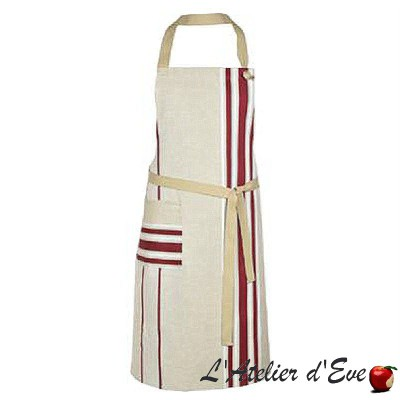 """Corda metis steel / white"" Cotton / linen apron Made in France Artiga"