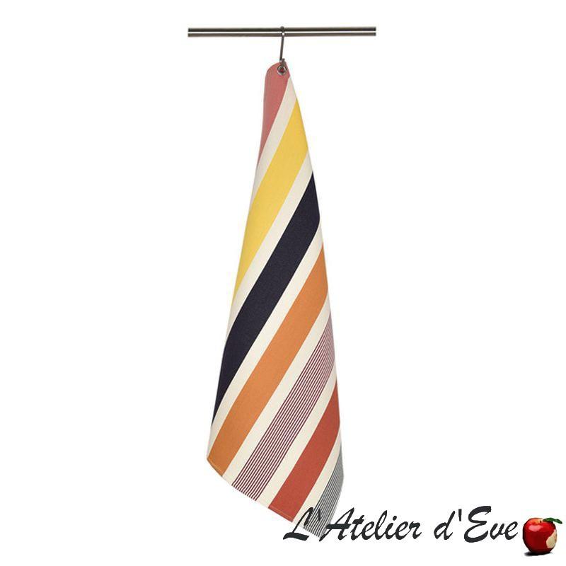 """""""Garlin"""" Torchon coton toile basque Made in France 75x50cm Artiga"""