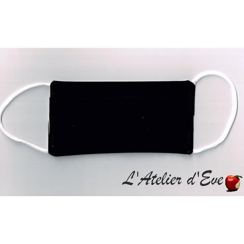 Ecomasque noir haute protection tissu spécial respirant Made in France mpt-eco-ado-adulte
