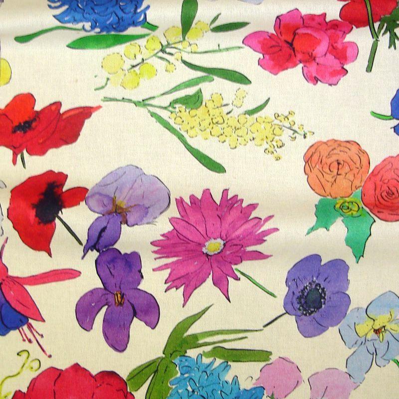 Blooming - Tissu ameublement coton fleuri Thevenon