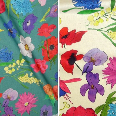 Blooming (2 colors) fabric flowery cotton furnishing Thévenon