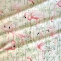 Flamingo fabric upholstery cotton pattern flamingos pink Thévenon