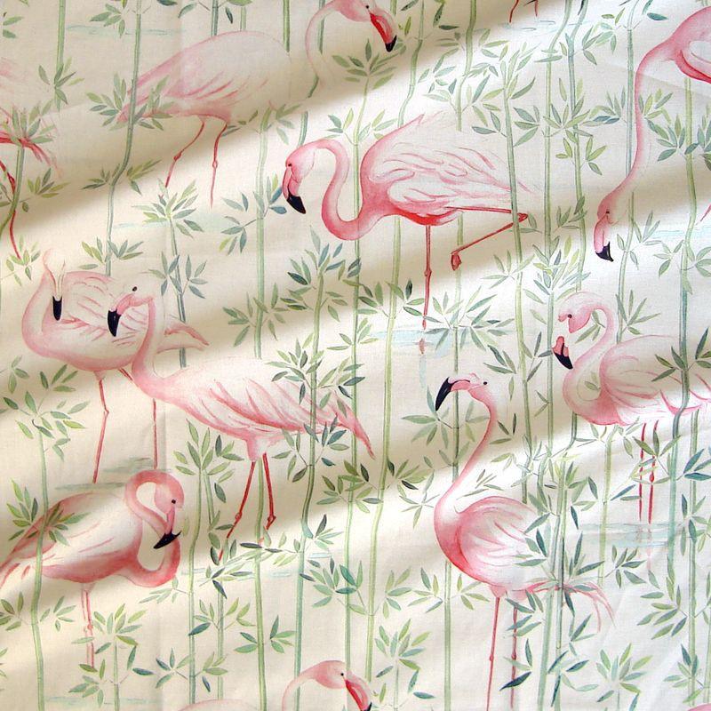 Flamingo Rouleau tissu ameublement coton fond crème Thevenon
