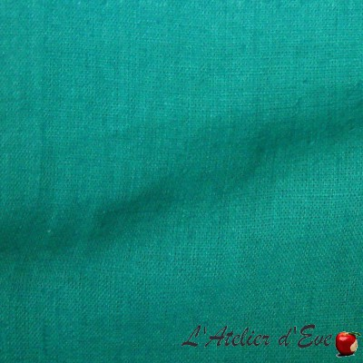 """""""Washed linen"""" blue green Coupon 100x140cm fabric upholstery Thevenon"""