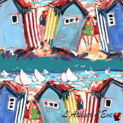 Déco bord de mer: Tissu ameublement coton St Matin Plage Patrick Plattier
