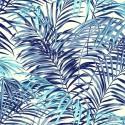 """""""Palm Springs"""" Bleu Lagon Coupon 100x65cm Toile de coton Thevenon"""