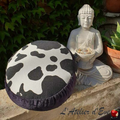 """Zafu"" Black & White Coussin de méditation Made in France L'Atelier d'Eve"