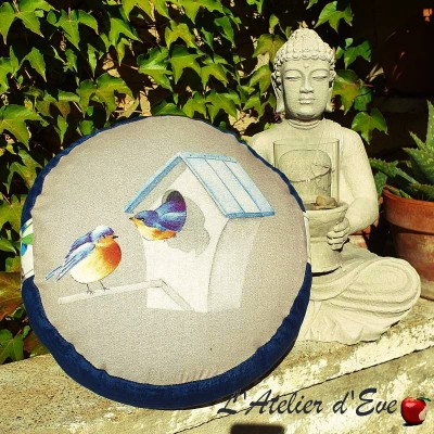 """Zafu"" Love Birds Coussin de méditation Made in France L'Atelier d'Eve"
