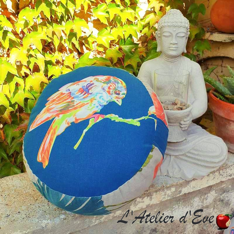 """Zafu"" Blue bird Coussin de méditation Made in France L'Atelier d'Eve"