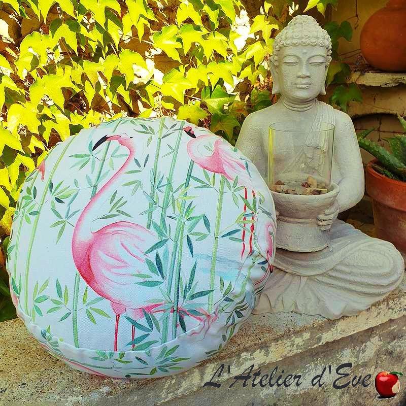 """Zafu"" flamingo Coussin de méditation Made in France L'Atelier d'Eve"