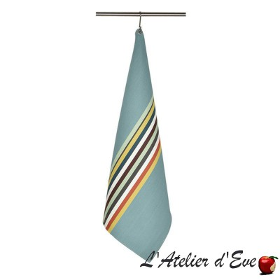 """Mauleon celadon"" Basque cotton cloth tea towel Made in France 75x53cm Artiga"