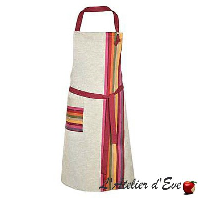 """Mauleon fuchsia"" Apron Made in France Basque canvas cotton / linen Artiga"
